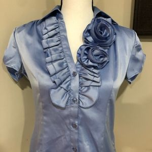 *NY & CO* Blue Short Sleeve Button Down Top NWOT